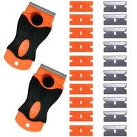 2 Mini Scraper 10 Metal 10 Plastic Replacement Blade Sticker Removing Tool Razor Scraper For Sticker