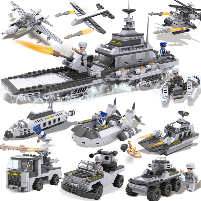 COGO Military Educational Building Blocks Toys For Children Gifts Army Car Planes Panzer Battleship Weapon Compatible With Legoe aircraft carrier ship military army model building blocks compatible with legoelie playmobil educational toys for children b0388