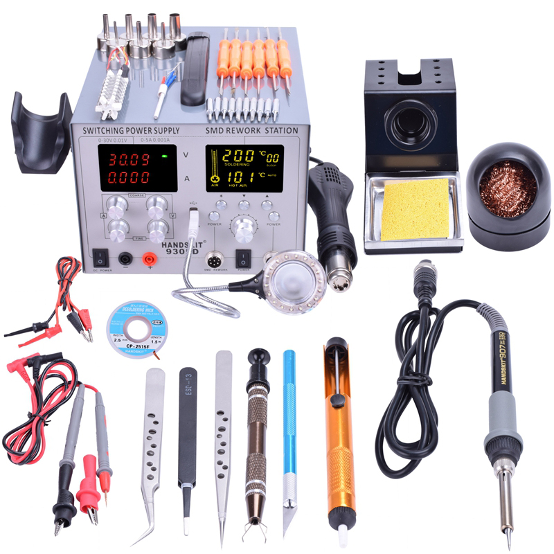 Handskit Power Supply DC 5V 2A 4 in 1 30V 5A Hot Air Gun Rework Station+Soldering Iron Station 110V/220V USB 9305D Free Shippin