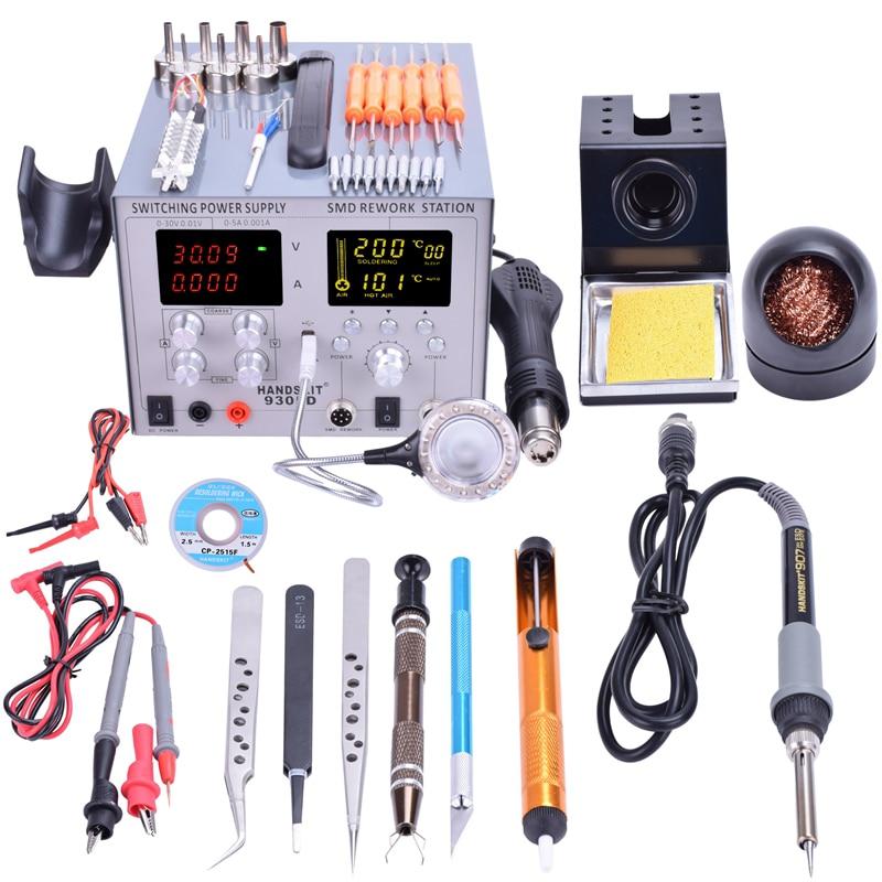 Handskit alimentación DC 5 V 2A 4 en 1 30 V 5A estación de la reanudación pistola de aire caliente + soldadura estación de hierro 110 V/220 V USB 9305D Shippin libre