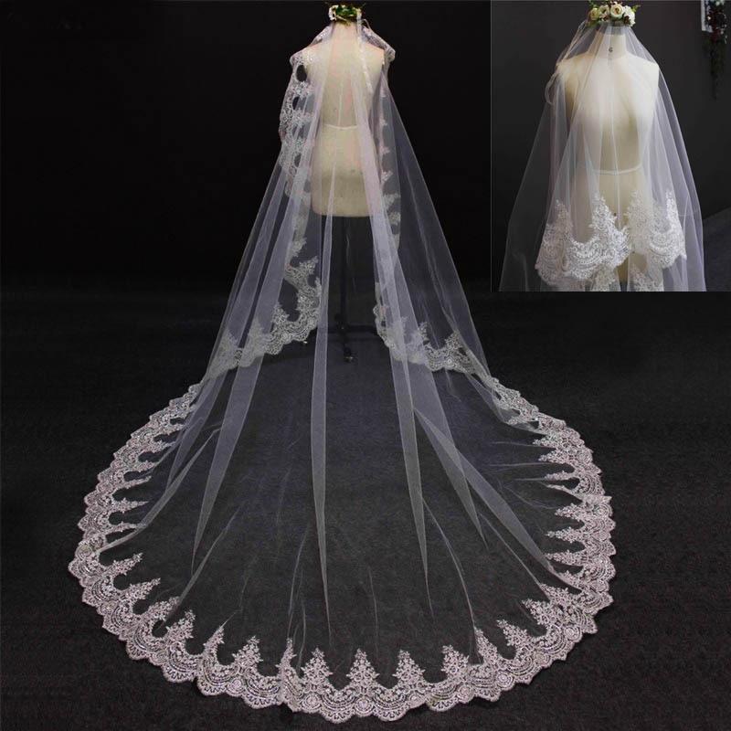 2016 New Romantic Lace Edge One Layer 3 meter Bruidssluier zonder kam - Bruiloft accessoires - Foto 2