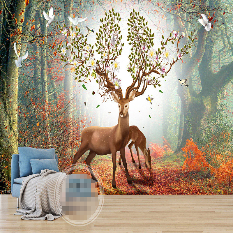 Custom Wall Mural Non-woven Wallpaper 3D Art Wall Painting Nordic Forest Elk Sofa TV Background Wall Murals Wallpaper Home Decor free shipping european corridor wall painting background wallpaper hawaii non woven wallpaper mural