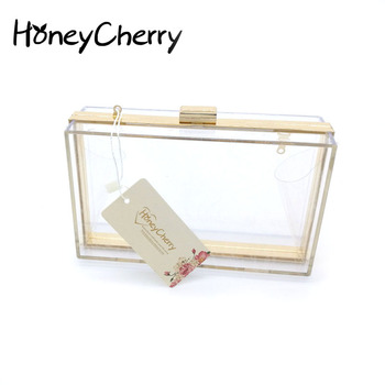 New 2018 Acrylic Transparent Women Clutch Bag Chain Luxury Brand Women Messenger Bags Evening Handbag clear woman bag