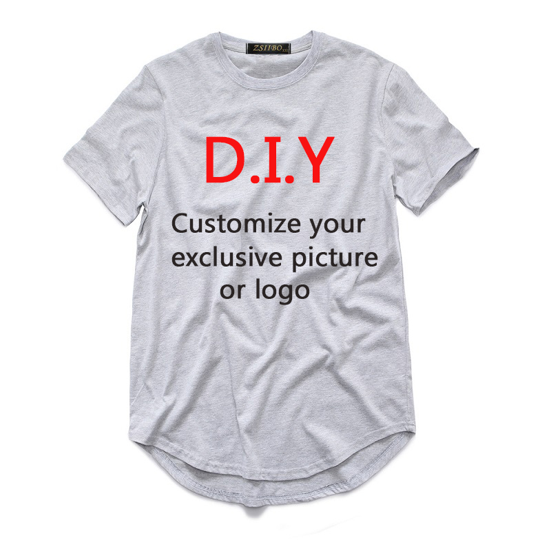 3c09fea2 Cotton DIY print Men's extended streetwear t shirt long line hip hop tshirt  Customize Your Exclusive Design t shirt men DZS5MC-in T-Shirts from Men's  ...