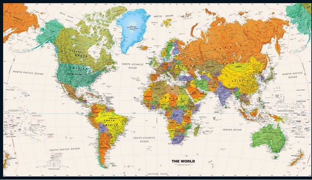 Retro World Map Canvas Oil Painting Vintage Wall Art Sticker