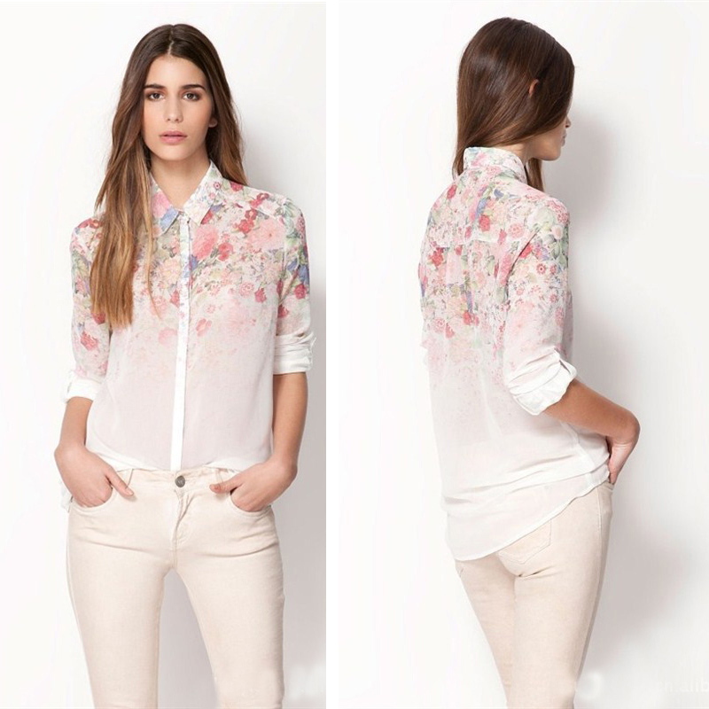New Arrival 2018 Women Floral Chiffon Long Sleeve Blouse Turn-down Callor Tops For all Season Elegant Workplace Female Cloth