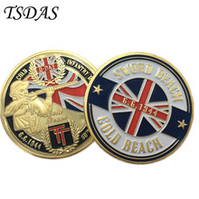 24k Gold Plated Coins D-DAY Northumbrian Infantry Division Landing Gold Beach Challenge Coin Collection Gift