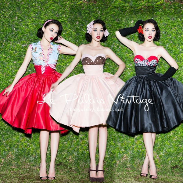 FREE SHIPPING Le Palais Vintage all match elegant high waisted skirt color black powder ball gown