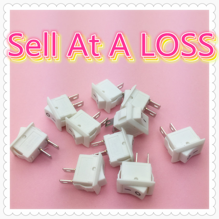 10pcs/lot 10*15mm White 2PIN SPST ON/OFF G134 Boat Rocker Switch 3A/250V Car Dash Dashboard Truck RV ATV Home g126y 2pcs red led light 25 31mm spst 4pin on off boat rocker switch 16a 250v 20a 125v car dashboard home high quality cheaper