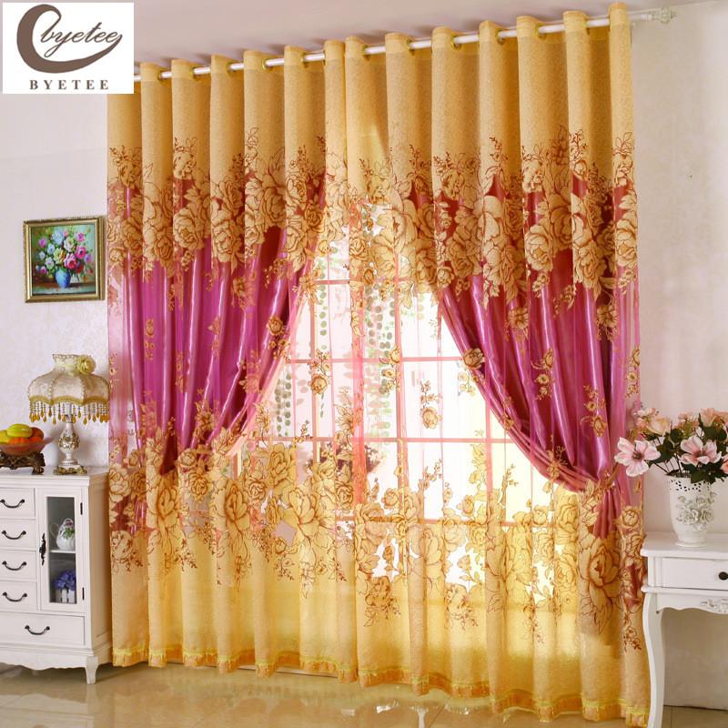 byetee estilo europeo nuevo diseo rojo burnout cortinas para el dormitorio sala de