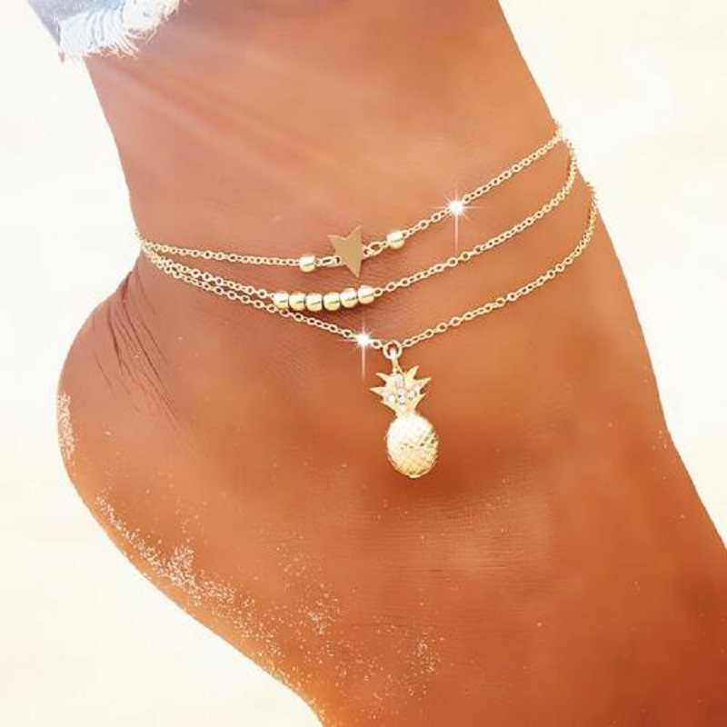 Summer Fashion Crystal Pineapple Anklets Female Barefoot Crochet Sandals Foot Jewelry Bead Ankle Bracelets For Women Leg Chain
