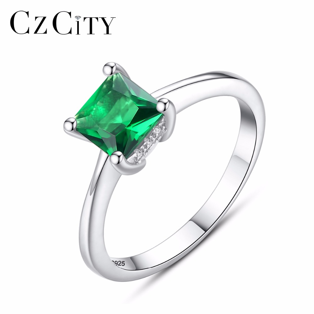 CZCITY Esmeralda Simple mujer de piedra de circón anillo de dedo de Plata de Ley 925 joyería de las mujeres de la boda Anillos de Compromiso de regalo