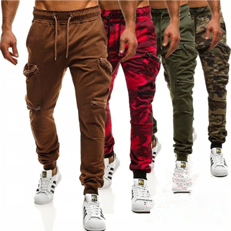 Mens Joggers Casual Pants 2020 New Red Camouflage Multi-Pockets Cargo Pants Men Cotton Harem Pants Hip Hop Trousers Streetwear