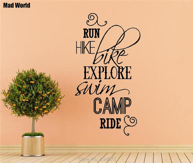 Mad World RUN HIKE BIKE SWIM CAMP RIDE Quotes Wall Art Sticker Wall ...