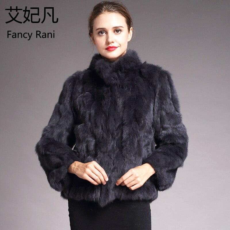 Для женщин из натурального кроличьего меха пальто однотонные женские Стенд воротник с мехом кролика Пальто Зимняя мода натуральный мех пал...