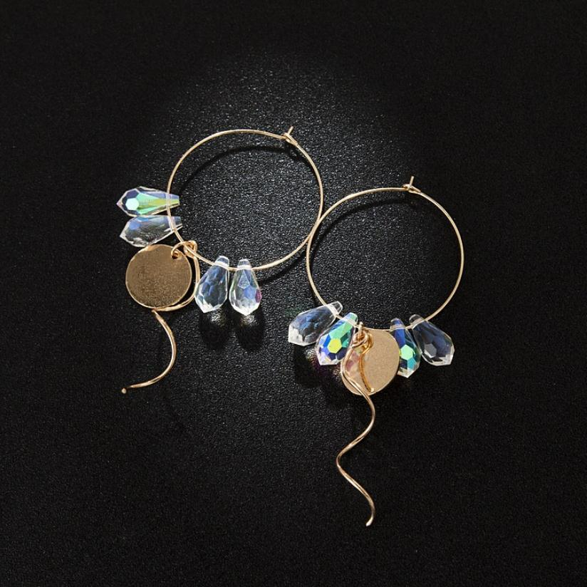 The latest AA glass earrings metal simple geometric shape earrings and colorful new lady flavor street snap stud earrings in Stud Earrings from Jewelry Accessories