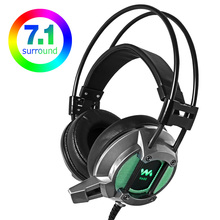 Professional Gaming Headset USB Wired Colorful LED 7.1 Virtual Surround Bass Ear Game Headphone with Mic For PC Gamer Computer цена и фото