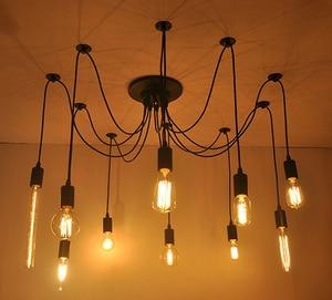 Image 2 - ロフトモダン白/黒光沢シャンデリア6 16シェード調整可能エジソン電球ランプe27アートクモ天井照明器具器具
