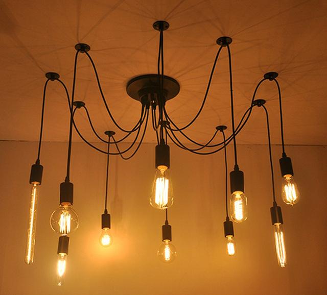 LOFT Modern White/Black Lustre chandeliers 6-16 Arms Retro Adjustable Edison Bulb Lamp E27 Art Spider Ceiling luminaire Fixture