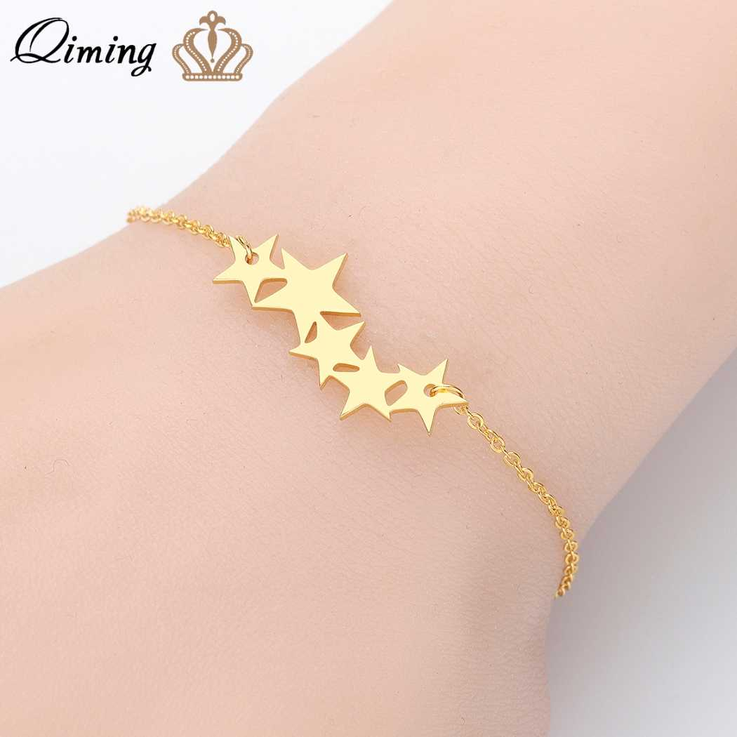 QIMING 2019 Five Star bransoletki dla kobiet złoto srebro w pięciokątnym minibasenie: kochanka modna biżuteria zaręczynowa Femme Bijoux prezent