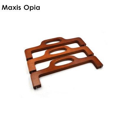 China Online Shop Size 41.5cm Coffee Wooden Bag Handle Purse Frame DIY Handbag Accessories Obag Purse Parts Wood Purse Frame