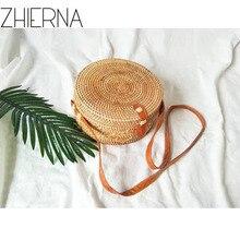 ZHIERNA 2017 Handgemachte Crossbody taschen Böhmischen Stroh Taschen für Frauen Kleine Kreis Strand Handtaschen Sommer Vintage Rattan Tasche