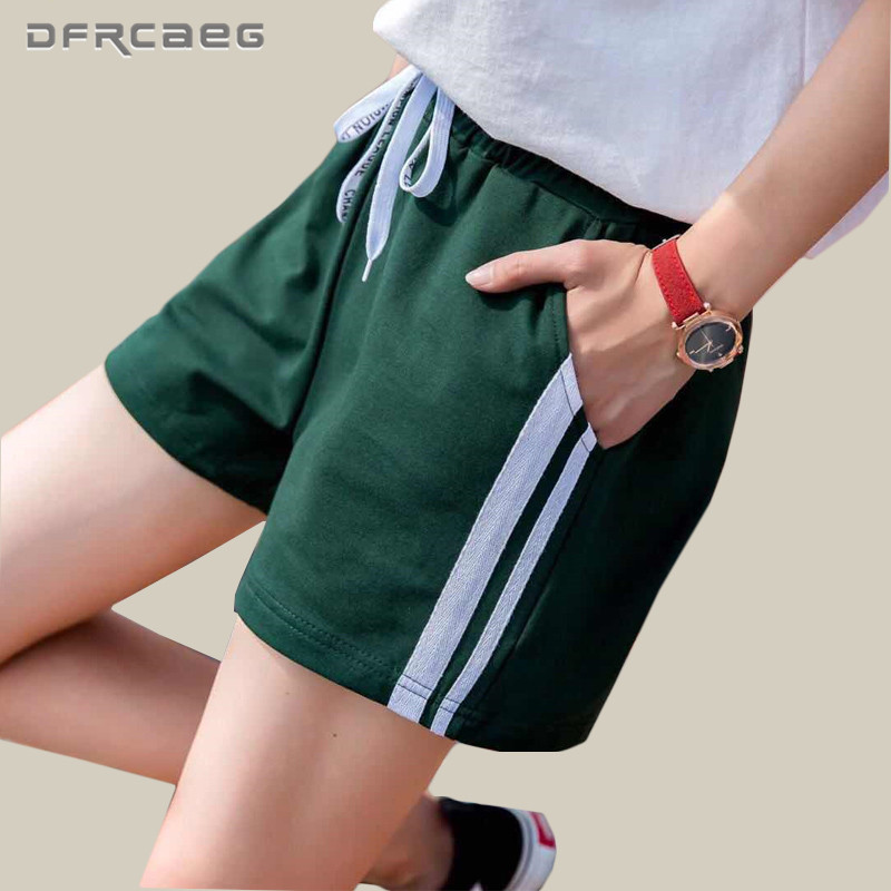 Women's Cotton Summer   Shorts   2018 Fashion Side Striped   Short   Pants Loose Sweatpants Casual High Waist   Shorts   For jogger