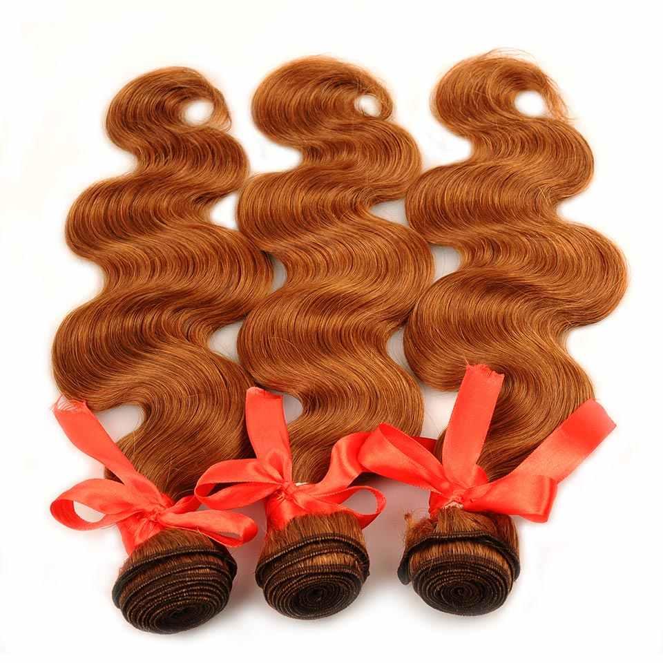 Parlayan Yıldız insan saçı postiş 3 Altın Sarışın Demetleri Ile Kapatma Renk 30 Malezya Vücut Dalga Demetleri Ile Kapatma Olmayan Remy