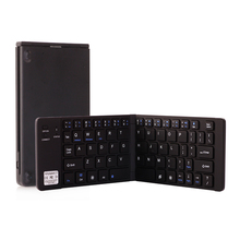 лучшая цена NEW Aluminum Double-Folding Wireless Bluetooth Keyboard for iPad IOS/Android/Windows Tablet PC