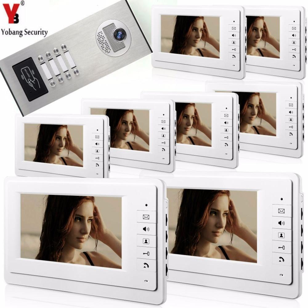 Yobang безопасность от 2 до 12 единиц 7 квартира здание Интерком система RFID разблокировка здание дома видео домофон наборы