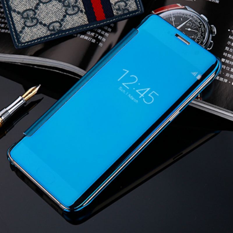 Mirror Pu Luxury Flip Pc Phone Leather Case Cover For