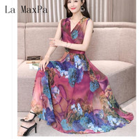 La MaxPa Chiffon Dress 2019 Summer New Printed slim Female V Neck Sleeveless Bohemia Long Dresses 3XL Plus Size Women Clothing