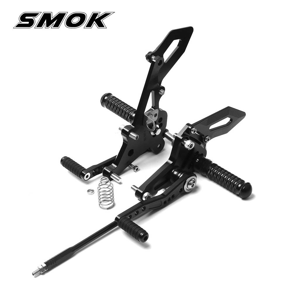 SMOK Motorcycle CNC Aluminum Alloy Adjustable Rider Rear Sets Rearset Footrest Foot Rest Pegs For Kawasaki Z125 Pro 2016 2017 align trex 800 700 ccpm metal swashplate h70h005xxw trex 700 spare parts free shipping with tracking