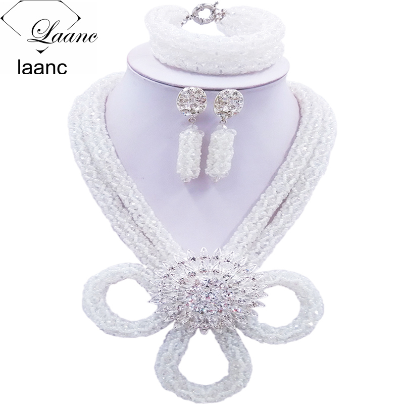 Laanc Nigerian Wedding Clear Transparent Crystal African Jewelry Set Bridal Jewelry Sets HXLK006