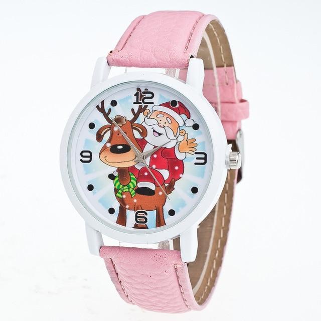 New Santa Claus Dial Children's Watch Clock Timer Quartz PU Leather Wrist Watch