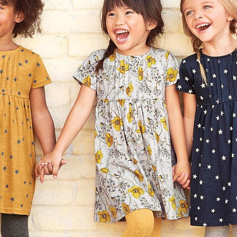 Прыжки метров платья для маленьких девочек 2018 г. брендовые летние платье для малышек цветок хлопка костюм для детей платья принцессы Одежда...