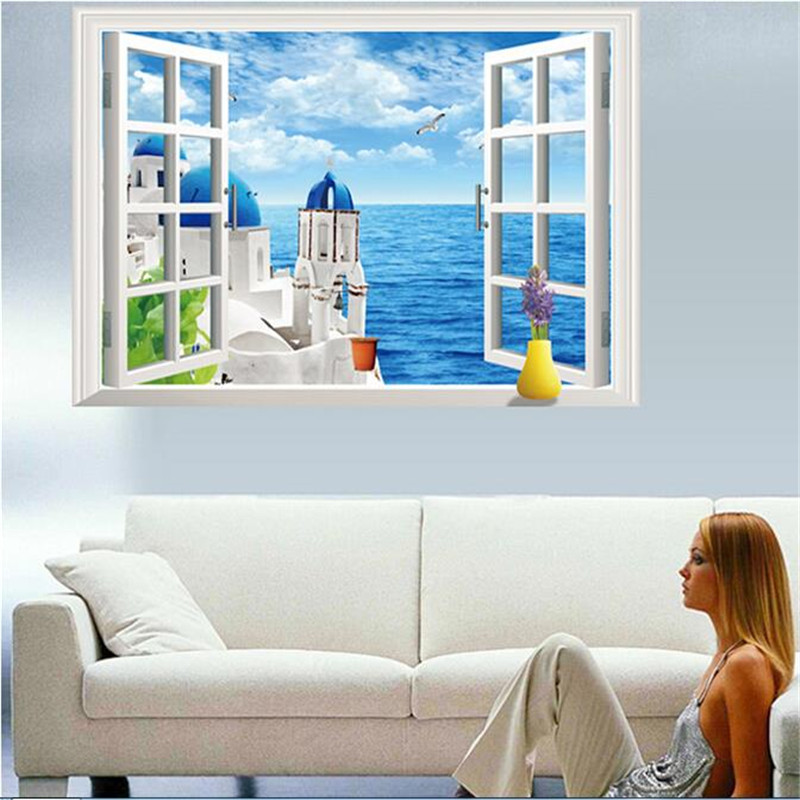 Mediterranean Style Houses With Ocean Views: 3d Blue Mediterranean Style Window Wall Stickers Home