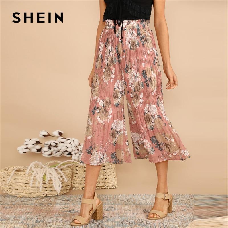SHEIN Boho Pink Frilled Waist Botanical Pleated Floral Culotte   Pants   Women 2019 Spring Elastic Waist Mid Waist Trousers