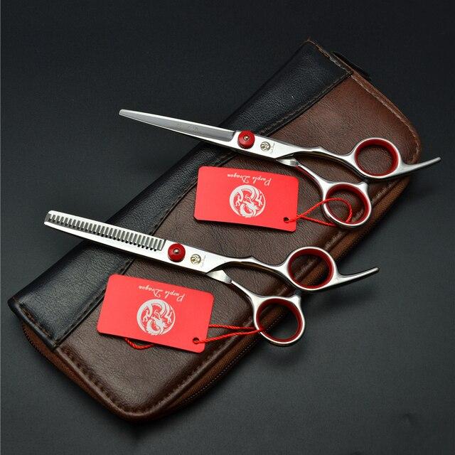 """6.5 """"סגול הדרקון נירוסטה אדום לחיתוך מספרה דליל שיער מספריים מקצועי שיער מספריים Z1001"""