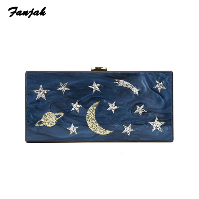 Acrylic Pearl Dark Blue Star Moon handbag women wedding clutch lady party purse famous designer crossbody shoulder messenger bag