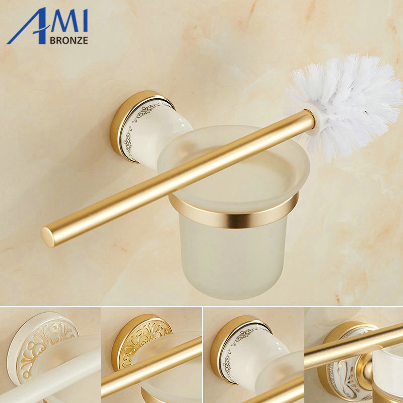AG Series Golden Polish Space Aluminum Bathroom Toilet Brush Holders With Glass Cup Sets Wall Mounted HolderAG Series Golden Polish Space Aluminum Bathroom Toilet Brush Holders With Glass Cup Sets Wall Mounted Holder