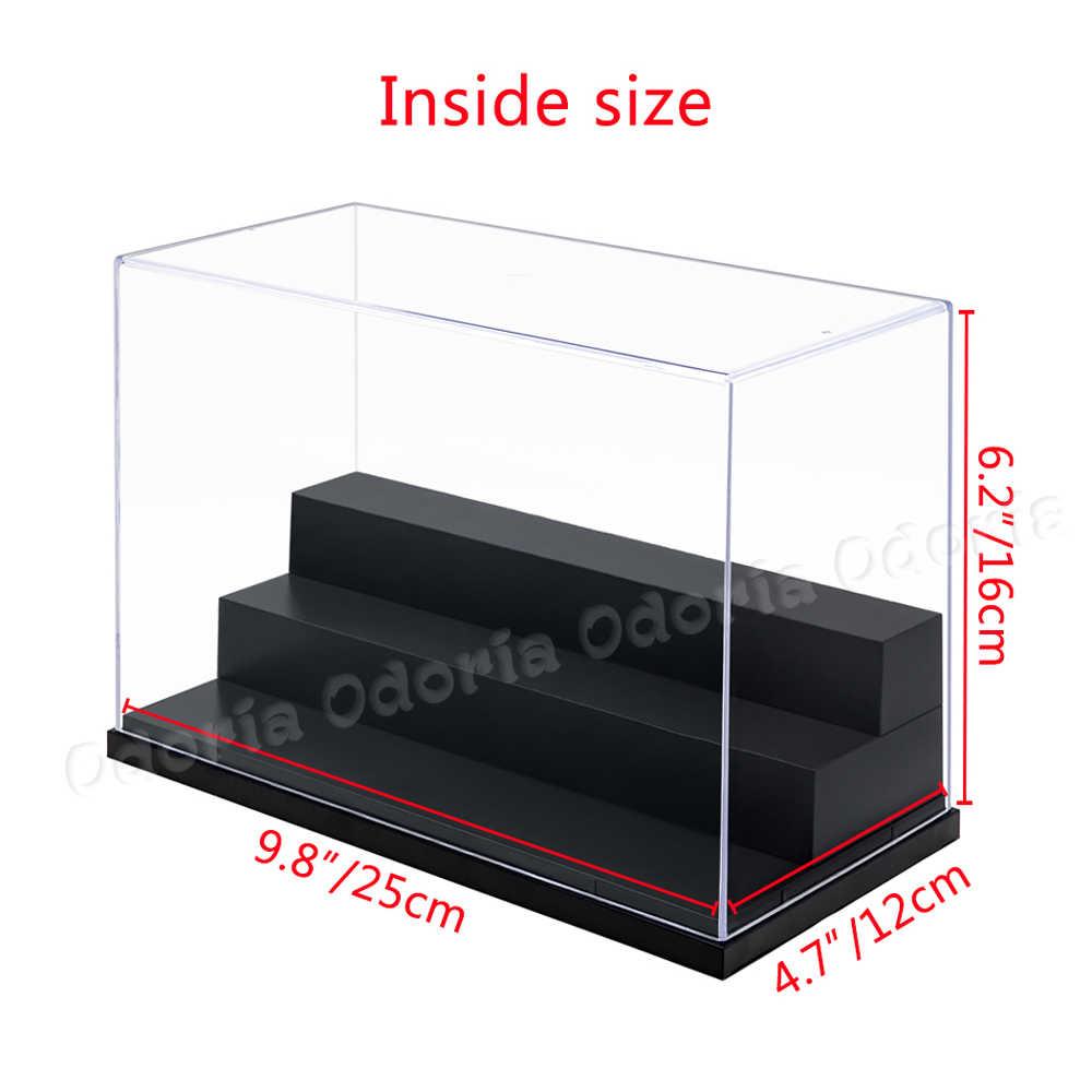 Odoria 3 pasos caja de exhibición acrílica 25cm L caja Perspex a prueba de polvo UV para figura de acción modelos coches muñecas barcos de la UE ES nosotros ES