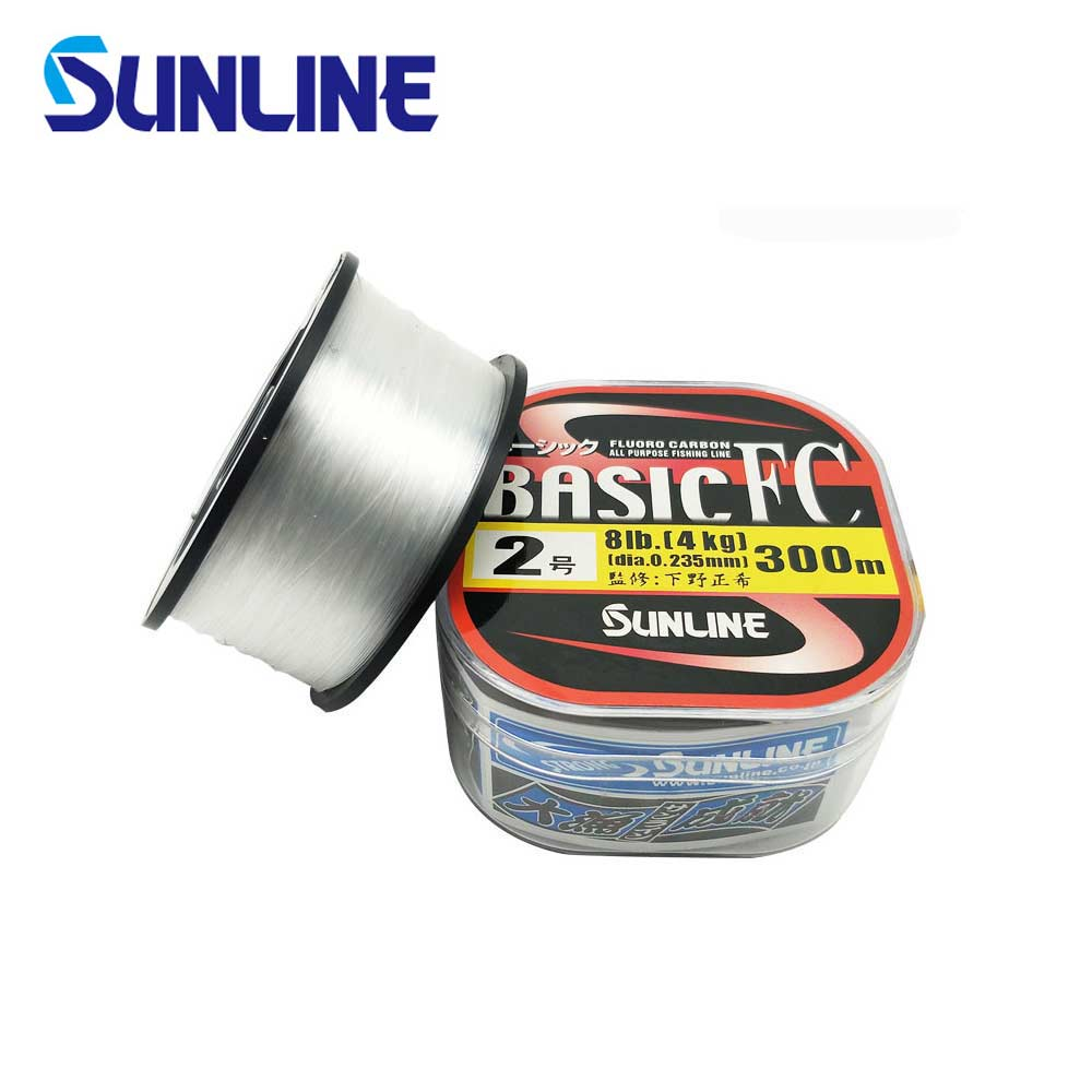 100% Original SUNLINE BASIC FC 225M/300M Transparent Color Carbon Fiber Fishing Line Suitable for Many Fishing Methods