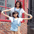 High end family match denim overalls tshirt set star print mom mum daughter matching clothes dress jeans mother daughter outfits