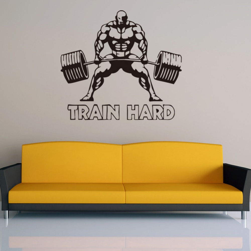 Train Hard Bodybuilder Barbell Weightlifting Wall Sticker Decal  Room Interior Decor