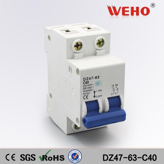 DZ47 63 C40 Import China Goods 2P 40 Amp Miniature Circuit Breaker ...