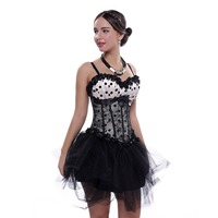 Women Cream White corset Poka Dot Shoulder Straps Overbust Corset With mini Skirt Sexy Lace Overlay Corset Dress
