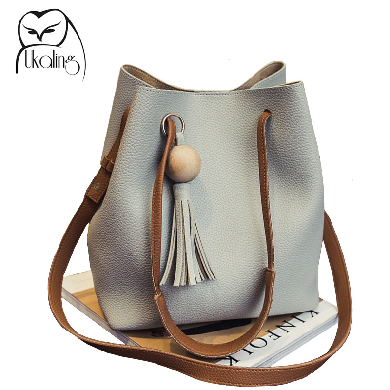 7c8c75ba8edb UKQLING Women s Shoulder Bag PU Leather Women Handbags Bucket Bag Ladies  Hand Bags Casual Big Female Floral Tote Bag For Ipad-in Shoulder Bags from  Luggage ...