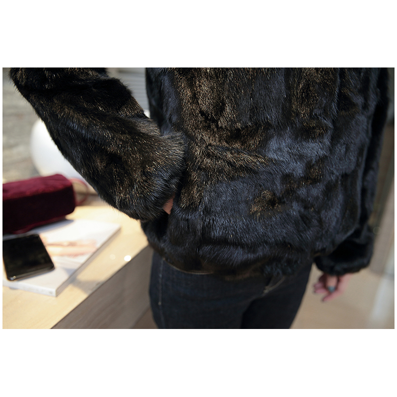 2018 Col Fourrure Vison Naturel Réel Mode Automne Survêtement Noir Veste Collection De Femmes Manteau Hiver Fox Nouvelle PTUPxqFpw