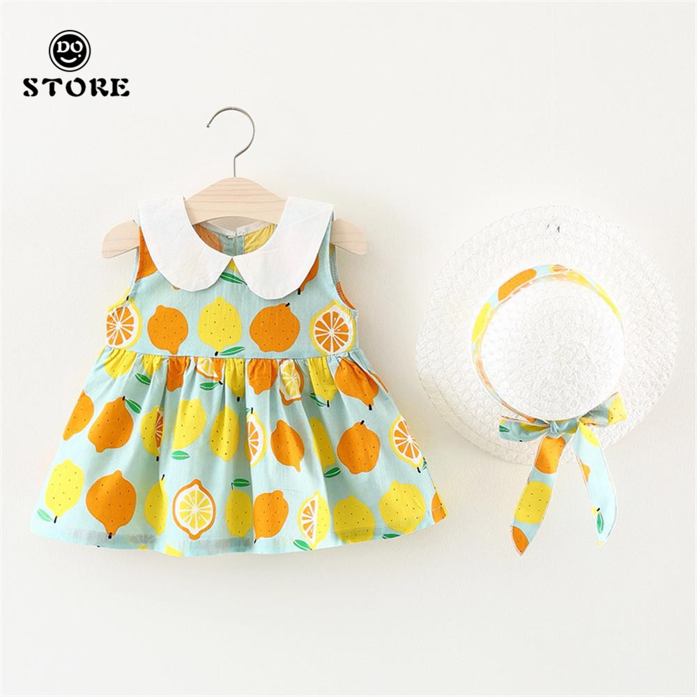 Summer Baby Girls Clothes Lemon Printing Dress Hat Princess Sleeveless Dresses Lapel For 6M 9M 18M 24M Years